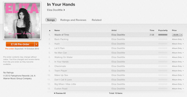 In Your Hands tracklisting